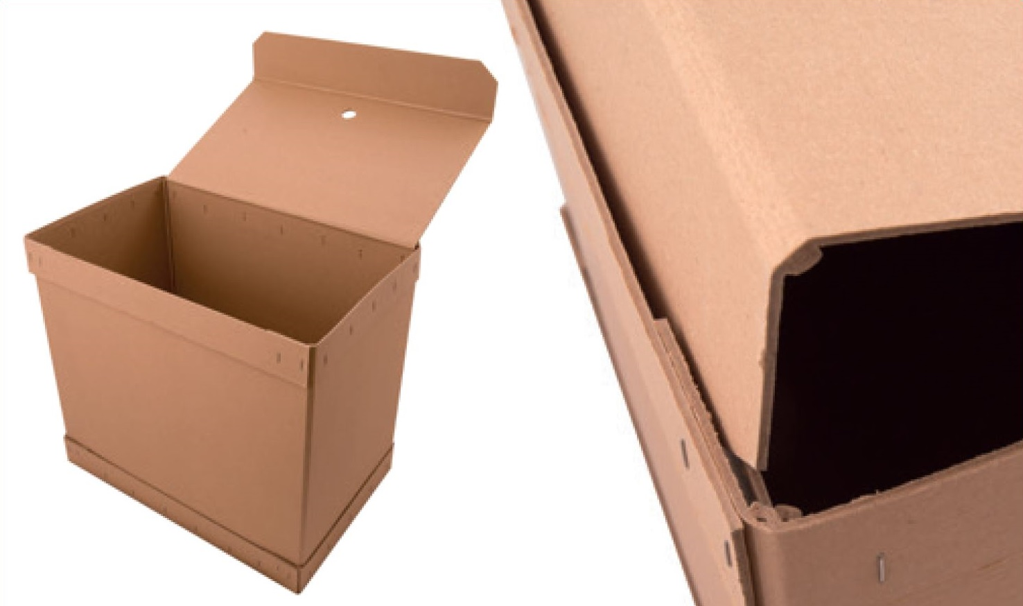 Transport box with lid, stapled